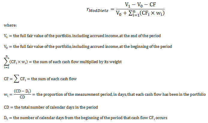 how to calculate your modified dietz rate of return moddietz